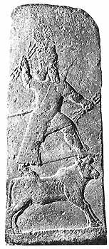 The weather god Hadad, stela from Arslan Tash, Syria, Neo-Assyrian, 8th century BC (Orthmann, 1975, Pl. 217)