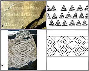 Comparative board betwen petroglyphs and ornamental motives of carijó painted pottery. Nº1 - Santinho Beach. Nº2 - Corais Island.