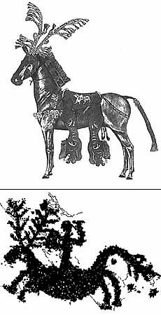 horse with stag mask
