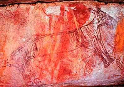 Painting of what is regarded as the extinct thylacine(Thylacinus cynocephalus) at a rock shelter in western Arnhem Land, NorthernTerritory. Photograph by Alan Watchman