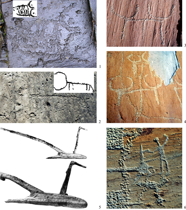 FIG. 2 - ATTELAGES. Bovidés au corps linéaire, Val Camonica (à gauche) et Mont Bégo (à droite) : 1) Dos Cüi, fig. A119 ; 2) Dos Cüi, fig. E1 ; 3) Fontanalbe, Ciappe ; 4) Merveilles (cliché A. Arcà). Comparaisons : 5) l'araire en bois de type Tryptolème du Lavagnone (2048-2010 cal. BC ; de De Marinis 2000) ; 6) araire avec cep et guidon de Fontanalbe Roche des 300 (cliché A. Arcà)