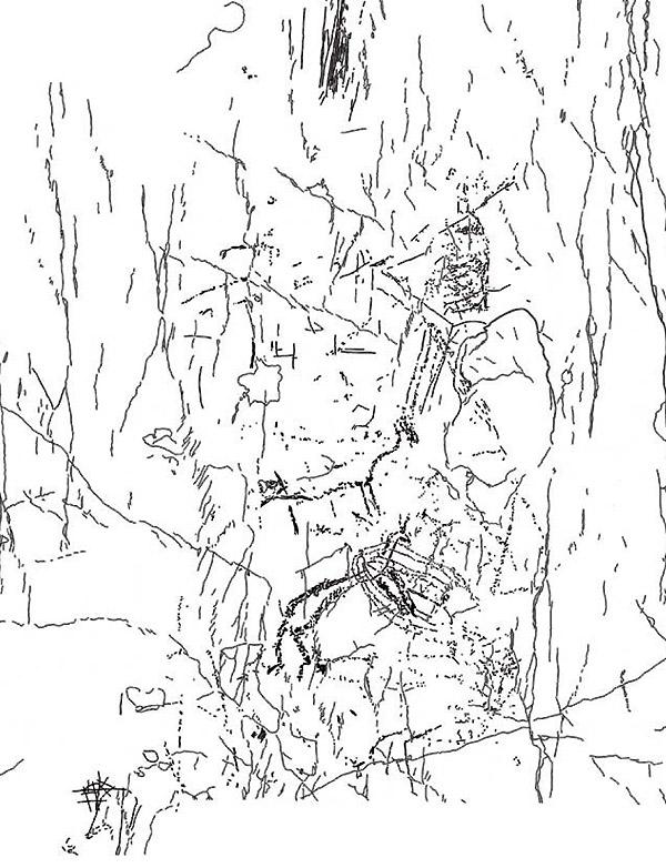 Fig. 3 Rilievo della parte centrale Settore A (rielaborazione grafica: D. Sigari).