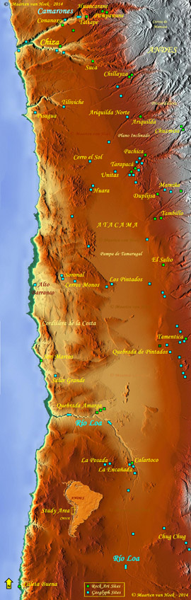 Figure 1. Map showing the rock art sites and geoglyph sites in the Study Area, northern Chile. Green squares: rock art sites; blue squares: geoglyph sites. Map © by Maarten van Hoek, based on Google Earth Relief Maps. Click on the map to enlarge > opens in a new window.