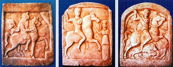Madara, votive tablets with the Thracian horseman (from Madara guidebook 2009)