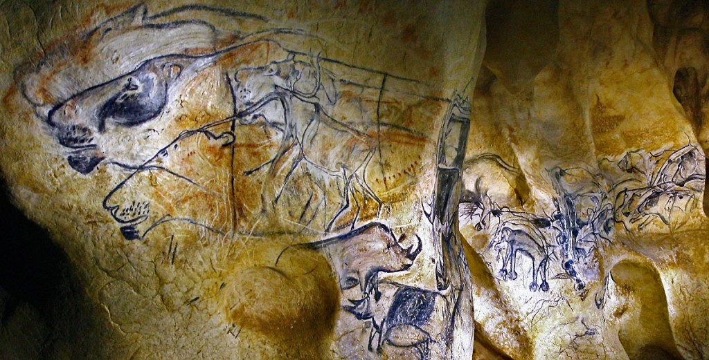 "Chauvet-Pont d'Arc cave replica, the lions ""fresco"" (click to enlarge; photo SYCPA-Sébastien Gayet)"