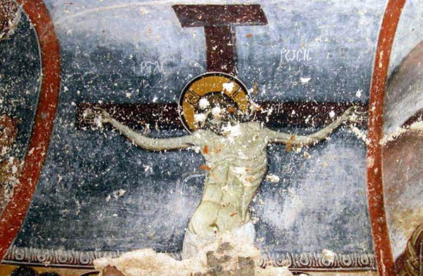 Fig. 17 – Yediler. Detail of the Byzantine fresco depicting the crucifixion of Christ.