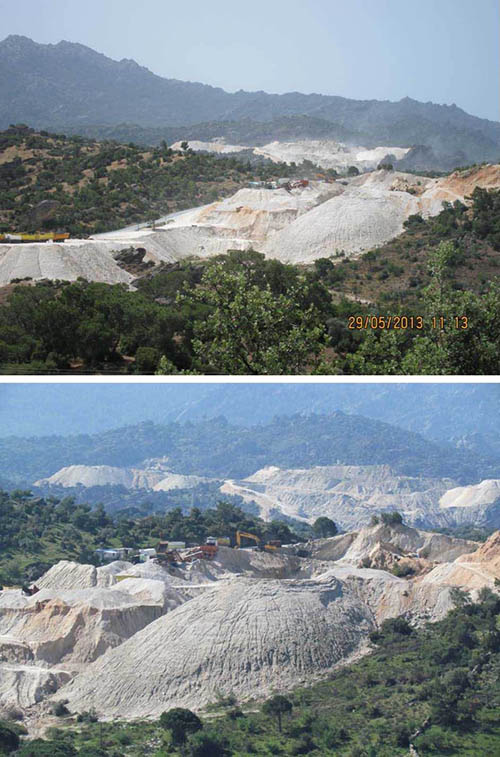 Fig. 21a, b – Views of the stone quarries (photographs taken in 2013)