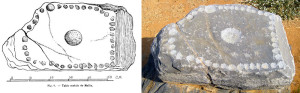 The second cup-marked stone of the Mallia Palace (click to enlarge; drawing from Chapoutier 1928)