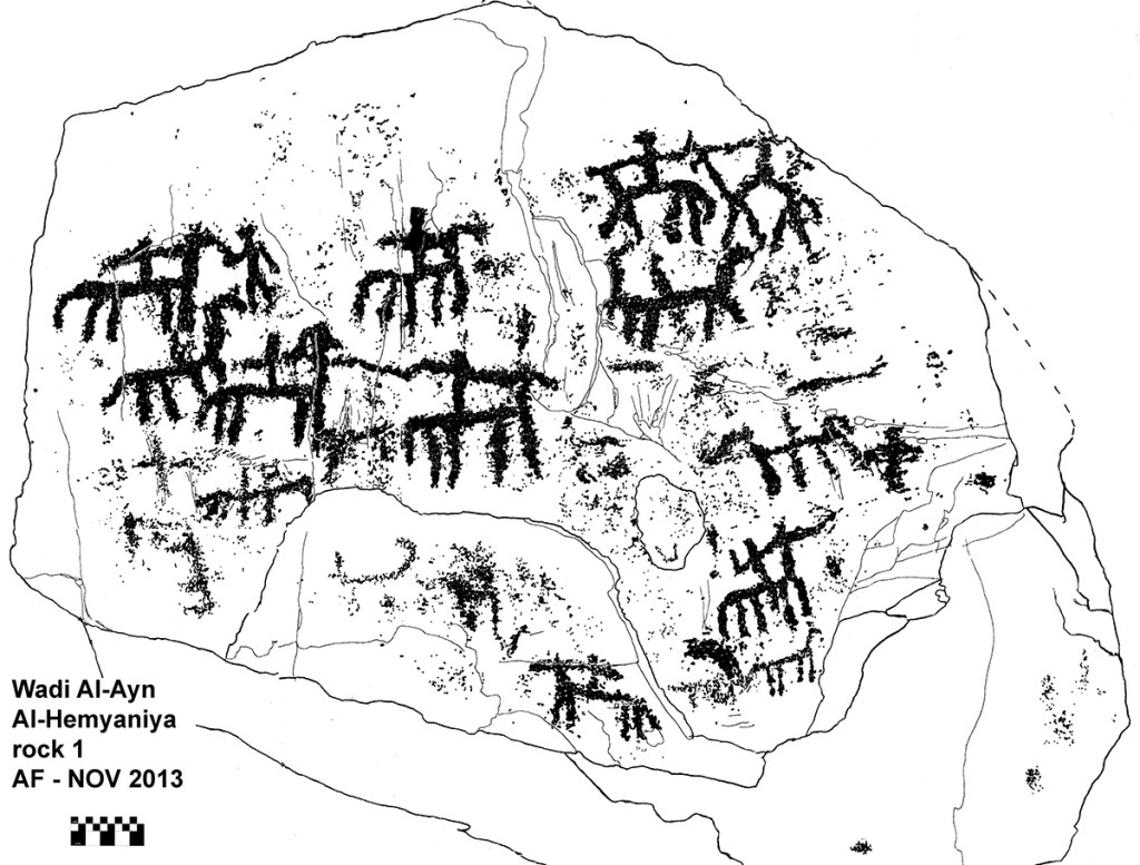 Fig. 13 - Tracing of the previous scene - Al-Hemyaniya village - Wadi Al Ayn - (drawing by Angelo Fossati)