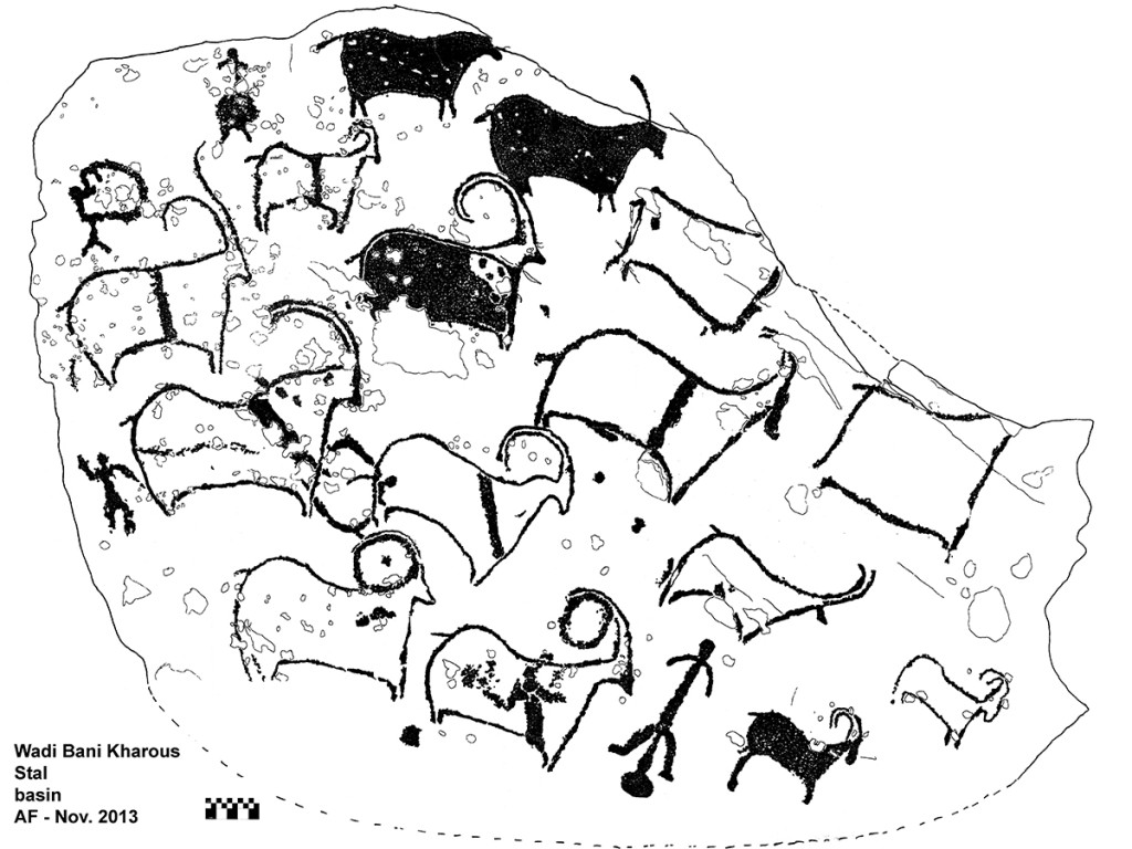 Fig. 2 - A group of goat-like animals and human figures engraved in a rocky basin. The goat-like figures overlap a figure of green turtle, an animal that had a great symbolic value six thousand years ago -  Stal,  Wadi Bani Kharous -  (drawing by Angelo Fossati)