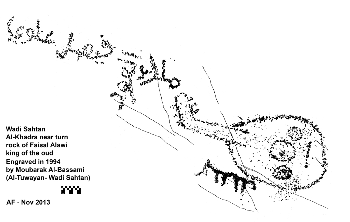 Tracce rock art in jebel akhdar oman fig 20 representation of a oud an arabian lute with an inscription biocorpaavc Image collections