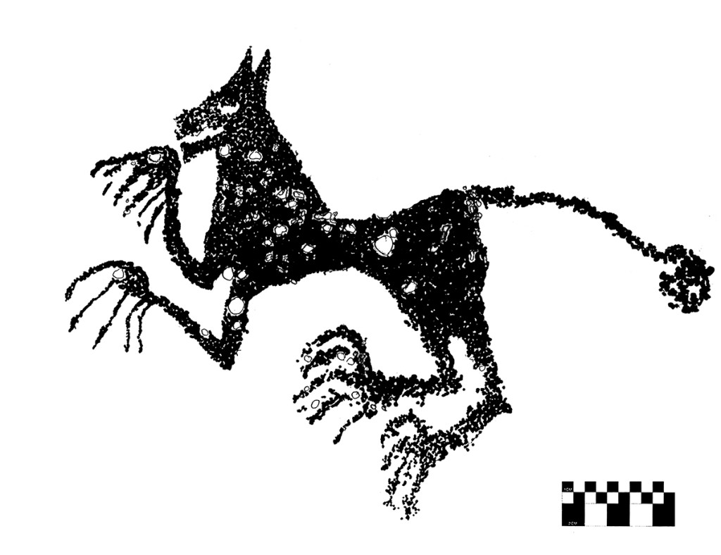 Fig. 22 -  A mythical  animal resembling a leopard or a wolf -  Gore Anaqsah, Wadi Sahtan - (drawing by Angelo Fossati)