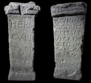 Usseglio Museum, the two Roman votive stone altars <br />  (photo<em>Footsteps of Man</em>)