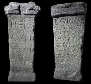 Usseglio Museum, the two Roman votive stone altars <br />  (photo<em>Footsteps of Man</em>)