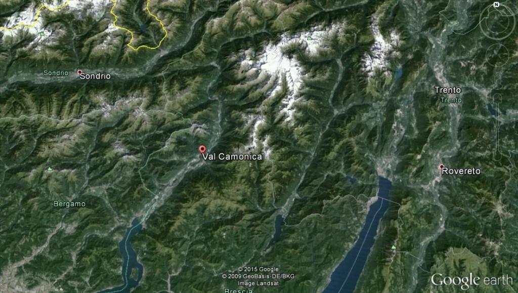 Fig. 1 Localizzazione della Valcamonica (immagine tratta da Google Earth)