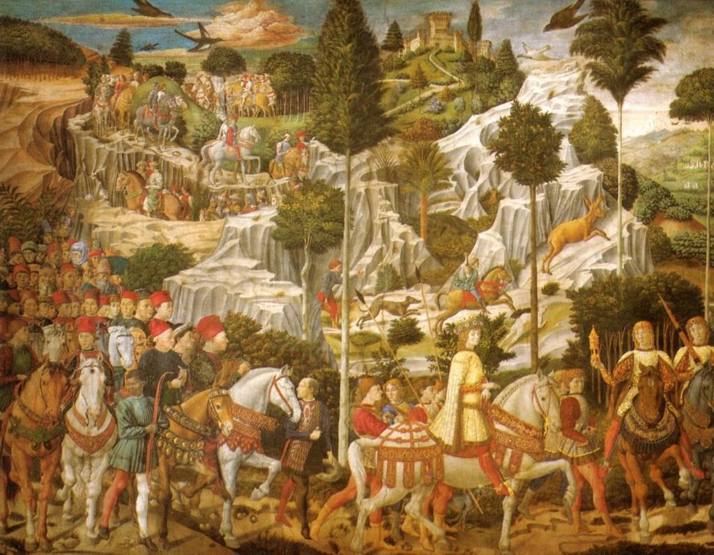 Fig. 6 Viaggio dei Magi di Benozzo Gozzoli (Immagine tratta da: https://upload.wikimedia.org/wikipedia/commons/0/09/Cappella_dei_magi,_corteo_con_lorenzo,_piero_e_giovanni_de'_ medici.jpg).