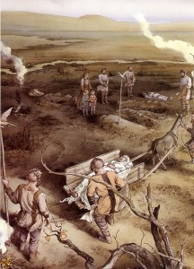 Fig. 1 Un'immaginaria cerimonia funeraria antica. Disegno di INKLINK Firenze
