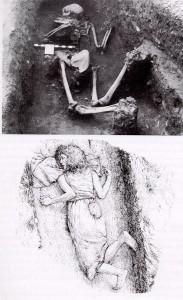 Fig. 3 Sepoltura femminile dal cimitero anglo-sassone dalla necropoli di Sewerby, East Yorkshire. La donna è bocconi nella fossa, con una pietra addosso. Forse una condannata a morte o una uccisione (da Murphy 2008, p. 18).