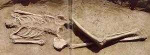 Fig. 5a-b Necropoli di Baggiovara (Modena), tomba 13. Deposizione femminile con corpo mutilato, circa VI sec. d.C. (da Cesari e Neri 2009 :21).