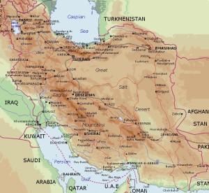 Fig. 1 L'Iran fisica (immagine tratta da: http://www.mideastweb.org/Iran.gif)
