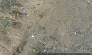 Fig. 3 Localizzazione di Shotor Sang rispetto alla città di Mashhad (immagine tratta da Google Earth)