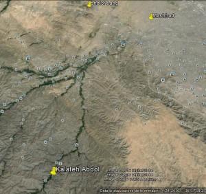 Fig. 8 Posizione di Kalateh Abdol (immagine tratta da Google Earth)