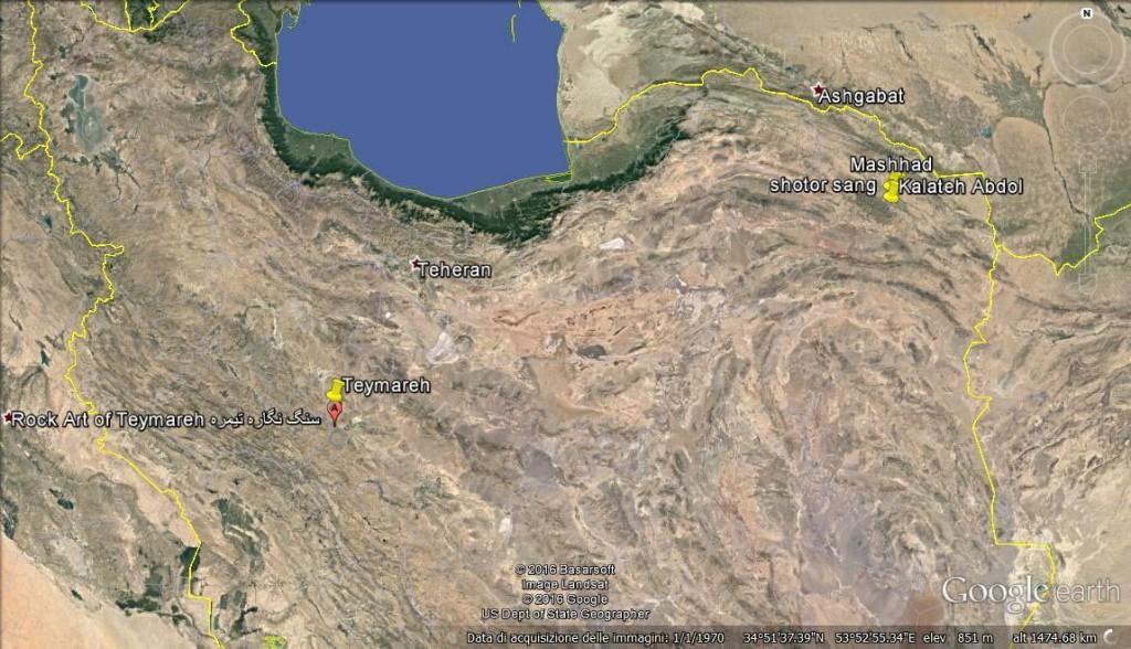 Fig. 13 Localizzazione di Teymareh (immagine tratta da Google Earth)