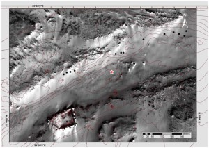 Fig. 3: Distribution of travertine accretions (round marks) near the study site (star-mark). The overlaid lines mark the 5m-Isohypses. (Satellite image: WorldView-1, 2007, DigitalGlobe, Inc.)