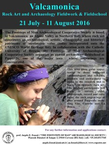 Valcamonica Rock Art and Archaeology Fieldwork & Fieldschool 2016 – from July 21 to August 11