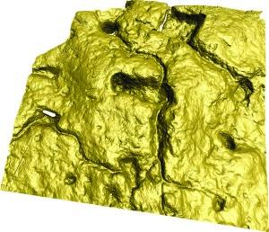 Il modello digitale tridimensionale su base fotogrammetrica di una parte del reticolo di coppelle, vaschette e canaletti (elab. Le Orme dell'Uomo)