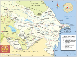 Map of Azerbaijan and position of Gobustan (pic. taken from: http://www.nationsonline.org/maps/Azerbaijan-Map.jpg and edited by the author)